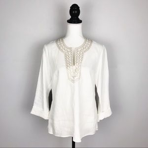 Talbots White Linen Gold Embroidered Blouse